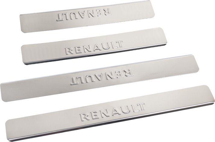 Накладки внутренних порогов DolleX, для RENAULT Logan, Megane, Sandero, 4 штNPS-038Придают автомобилю стильный и неповторимый вид, эффективно защищают пороги от повреждения лакокрасочного покрытия.Отличительные особенности:- Полированная нержавеющая сталь- Толщина стали 0,5 мм.- Стильный внешний вид- Легкая и быстрая установка- Крепление лента липкая двухсторонняяКомплект:размер 450 х 55мм - 2штразмер 300 х 55мм - 2шт