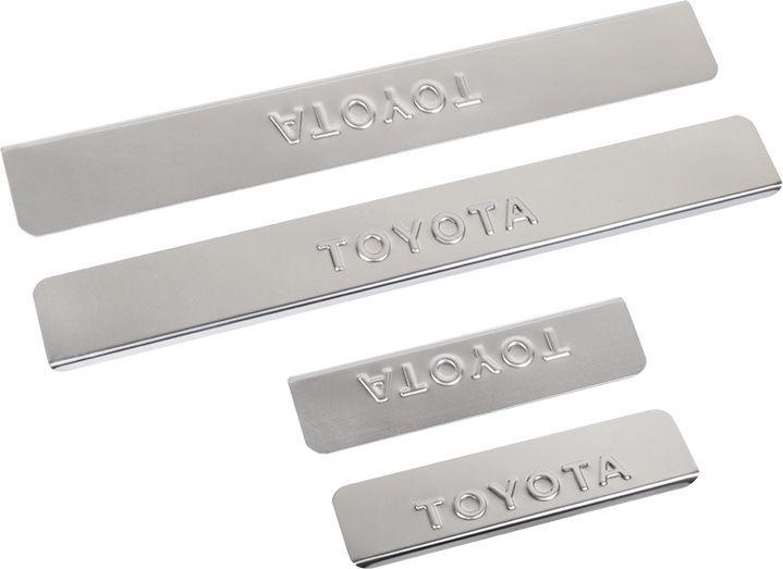 Накладки внутренних порогов DolleX, для TOYOTA Corolla (<-2013), 4 штNPS-045Придают автомобилю стильный и неповторимый вид, эффективно защищают пороги от повреждения лакокрасочного покрытия.Отличительные особенности:- Полированная нержавеющая сталь- Толщина стали 0,5 мм.- Стильный внешний вид- Легкая и быстрая установка- Крепление лента липкая двухсторонняяКомплект:размер 452х48мм - 2штразмер 261х48мм - 2шт