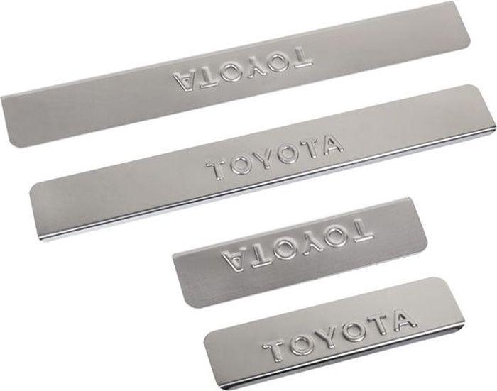 Накладки внутренних порогов DolleX, для Toyota RAV-4, 4 штNPS-047Накладки внутренних порогов DolleX (ступенчатые) придают автомобилю стильный и неповторимый вид, эффективно защищают пороги от повреждения лакокрасочного покрытия. Подходят для Toyota RAV-4. На накладках присутствует штамп Toyota.Отличительные особенности:- Полированная нержавеющая сталь- Толщина стали 0,5 мм.- Стильный внешний вид- Легкая и быстрая установка- Крепление - лента липкая двухсторонняяКомплект:размер 410х55мм - 2штразмер 200х55мм - 2шт