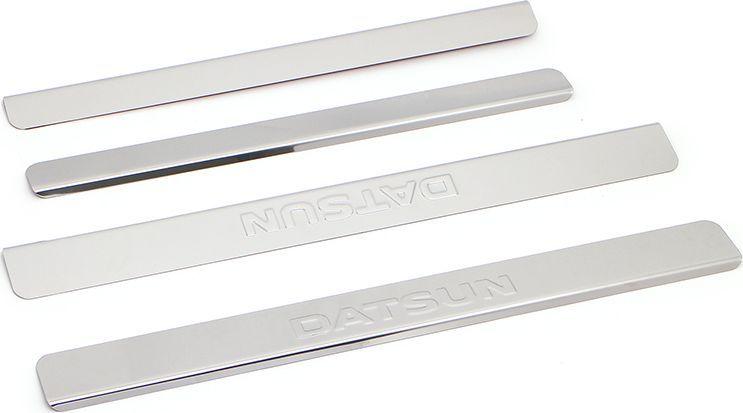Накладки внутренних порогов DolleX, для DATSUN on-DO, mi-DO, 4 штNPS-052Придают автомобилю стильный и неповторимый вид, эффективно защищают пороги от повреждения лакокрасочного покрытия.Отличительные особенности:- Полированная нержавеющая сталь- Толщина стали 0,5 мм.- Стильный внешний вид- Легкая и быстрая установка- Крепление лента липкая двухсторонняяКомплект:размер 450х46мм - 2штразмер 380х35мм - 2шт