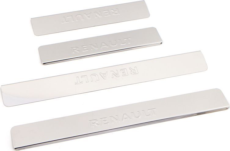Накладки внутренних порогов DolleX, для Renault Logan 2014,->, 4 штNPS-055Накладки внутренних порогов DolleX придают автомобилю стильный и неповторимый вид, эффективно защищают пороги от повреждения лакокрасочного покрытия.Отличительные особенности:- Полированная нержавеющая сталь;- Толщина стали 0,5 мм;- Стильный внешний вид;- Легкая и быстрая установка;- Крепление - лента липкая двухсторонняя. Размер: 450 х 61 мм - 2 шт.Размер: 300 х 61 мм - 2 шт.