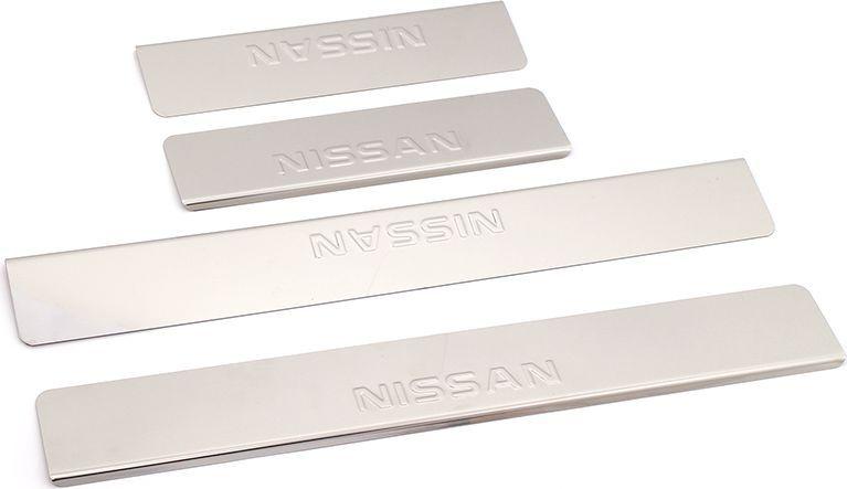 Накладки внутренних порогов DolleX, для NISSAN X-Trail 3 (2014->), 4 штNPS-057Придают автомобилю стильный и неповторимый вид, эффективно защищают пороги от повреждения лакокрасочного покрытия.Отличительные особенности:- Полированная нержавеющая сталь- Толщина стали 0,5 мм.- Стильный внешний вид- Легкая и быстрая установка- Крепление лента липкая двухсторонняяКомплект:размер 500х70мм - 2штразмер 270х70мм - 2шт