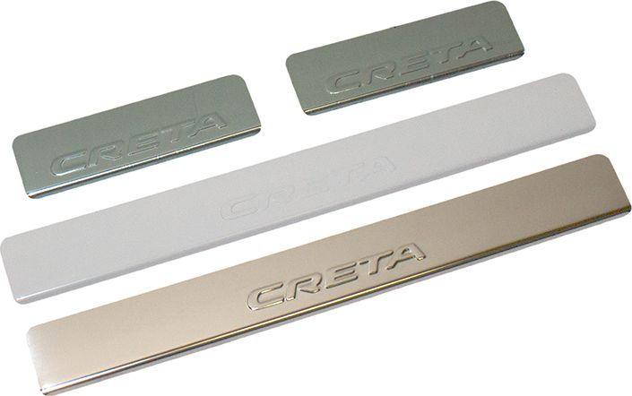 Накладки внутренних порогов DolleX, для HYUNDAI Creta, штамп CRETA, 4 штNPS-071Придают автомобилю стильный и неповторимый вид, эффективно защищают пороги от повреждения лакокрасочного покрытия. Отличительные особенности: - Полированная нержавеющая сталь - Толщина стали 0,5 мм. - Стильный внешний вид - Легкая и быстрая установка - Крепление лента липкая двухсторонняя Комплект: размер 500 х 61 мм. - 2 шт. размер 200 х 61 мм. - 2 шт.