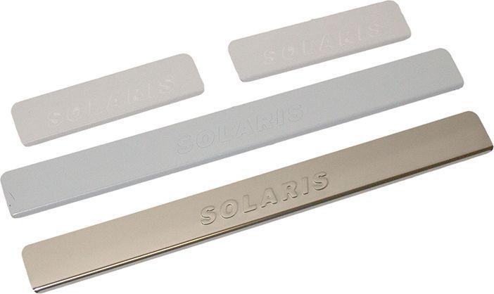 Накладки внутренних порогов DolleX, для HYUNDAI Solaris (2017->), штамп SOLARIS, 4 штNPS-072Придают автомобилю стильный и неповторимый вид, эффективно защищают пороги от повреждения лакокрасочного покрытия.Отличительные особенности:- Полированная нержавеющая сталь- Толщина стали 0,5 мм.- Стильный внешний вид- Легкая и быстрая установка- Крепление лента липкая двухсторонняяКомплект:Комплект:размер 500 х 55мм - 2штразмер 200 х 55мм - 2шт