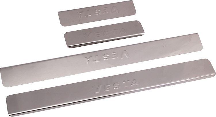 Накладки внутренних порогов DolleX, для ВАЗ-2180 Lada Vesta, 4 штNPS-205Накладки внутренних порогов DolleX придают автомобилю стильный и неповторимый вид, эффективно защищают пороги от повреждения лакокрасочного покрытия. Подходят для ВАЗ-2180 Lada Vesta. На накладках присутствует штамп VestaОтличительные особенности:- Полированная нержавеющая сталь- Толщина стали 0,5 мм.- Стильный внешний вид- Легкая и быстрая установка- Крепление - лента липкая двухсторонняяКомплект:размер 500х55 мм. - 2 шт.размер 200х55 мм. - 2 шт.
