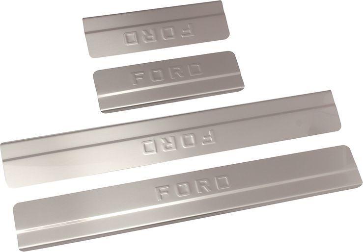 Накладки на пороги DolleX, для Ford Focus II, ступенчатые, 4 штNSI-002Накладки на пороги DolleX придают автомобилю стильный и неповторимый вид, эффективно защищают пороги от повреждения лакокрасочного покрытия.Отличительные особенности:- Полностью повторяет геометрию порога;- Изготовлены из полированной нержавеющей стали;- Толщина стали 0,5 мм.;- Стильный внешний вид;- Легкая и быстрая установка;- Крепление лента липкая двухсторонняя.Накладки предназначены специально для Ford Focus II.В комплект входят 4 накладки (2 передние и 2 задние).Размер: 2 - 50 х 6,4 см, 2 - 22 х 6,4 см.