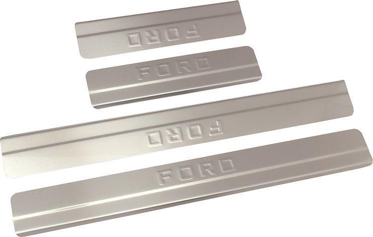 Купить Накладки внутренних порогов DolleX , для FORD Focus III рейсталинг (2015->), ступенчатые, 4 шт