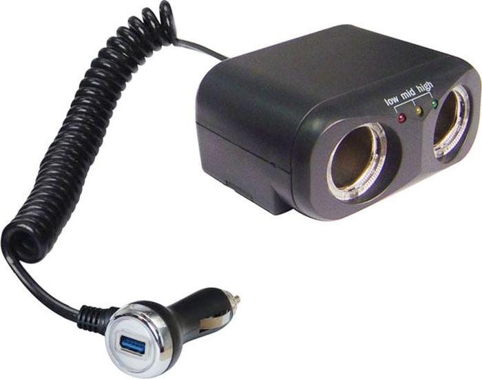 Разветвитель прикуривателя DolleX, на 2 гнезда + 1 USB, 1000 mAPR-39Разветвитель прикуривателя DolleX изготовлен с двумя разъемами и дополнен USB. Имеется световой индикатор для удобства пользования, длина провода 1 м. Разъемы 12В. Рабочее напряжение: 12В. Максимальный ток: 10А. Суммарная мощность потребителей: 120 Вт. Разъем USB. Напряжение на выходе: 5В. Максимальный ток 1А. Предназначен для подключения портативных CD/DVD проигрывателей, iPhone, смартфонов, мобильных телефонов, видеорегистраторов и других потребителей небольшой мощности.