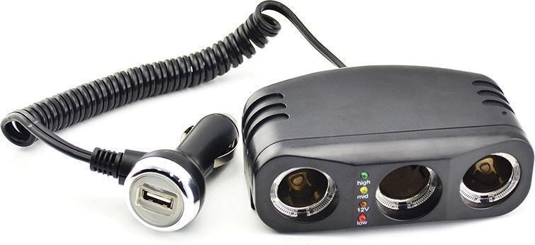 Разветвитель прикуривателя DolleX, на 3 гнезда + 1 USB, 1000 mAPR-40Разветвитель прикуривателя на три разъёма + USB и световой индикатор. Для удобства пользования, длинна провода 1 м. Разъемы 12В: - рабочее напряжение 12В - максимальный ток 10А Суммарная мощность потребителей 120 Вт. Разъем USB: - напряжение на выходе 5А - максимальный ток 1А. Предназначен для подключения портативных CD/DVD проигрывателей, iPhone, смартфонов, мобильных телефонов, видеорегистраторов и других потребителей небольшой мощности.