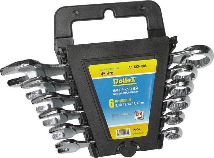 Набор ключей DolleX, комбинированные, цвет: хром, 8-17 мм, 6 штSCH-006Набор предназначен для монтажа и демонтажа резьбовых соединений. Профиль кольцевого зева имеет 12 граней, что увеличивает площадь соприкосновения рабочих поверхностей и снижает риск деформации граней крепежа при монтаже.- размерный ряд: 8мм; 10мм; 12мм; 13мм; 14мм; 17мм. - изготовлено их хром-ванадиевой стали (CrV Steel)- удобный пластиковый держатель