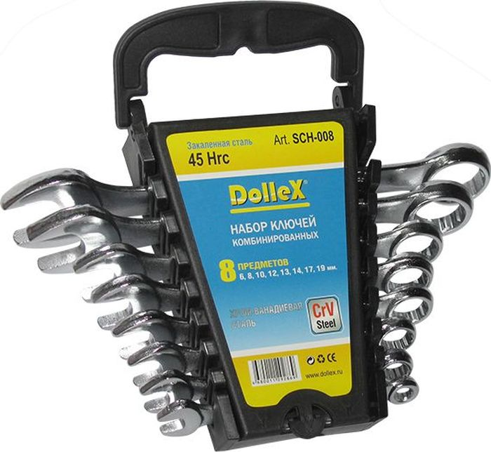 Набор ключей DolleX, комбинированные, цвет: хром, 8-19 мм, 8 штSCH-008Набор предназначен для монтажа и демонтажа резьбовых соединений. Профиль кольцевого зева имеет 12 граней, что увеличивает площадь соприкосновения рабочих поверхностей и снижает риск деформации граней крепежа при монтаже.- размерный ряд: 6 мм; 8мм; 10мм; 12мм; 13мм; 14мм; 17мм; 19 мм. - изготовлено их хром-ванадиевой стали (CrV Steel)- удобный пластиковый держатель