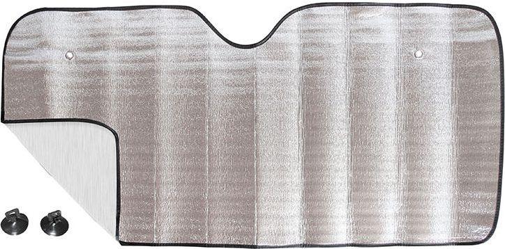 Шторка на лобовое стекло DolleX Silver, односторонняя фольга, 130 х 60 смSD-011Шторка на лобовое стекло DolleX Silver быстро монтируется с помощью присосок. При необходимости компактно сворачивается. Алюминиевая непрозрачная основа краски хорошо отражает солнечные лучи и ультрафиолет, защищая материалы отделки салона от их разрушительного воздействия.Размер шторки: 130 х 60 см. Комплект: шторка, 2 присоски для установки.