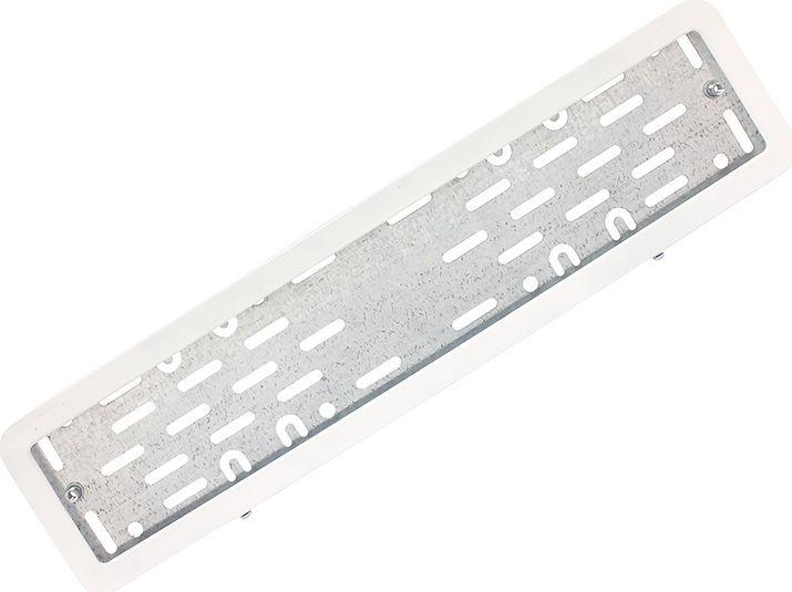 Рамка номерного знака DolleX, с адаптером, цвет: белый. SPL-20SPL-20Рамка номерного знака DolleX изготовлена из нержавеющей стали с прочным полимерным покрытием. Рамка имеет универсальное крепление под различные способы крепления к автомобилю.Адаптер из оцинкованной стали с виброизоляторами в комплекте.Температура эксплуатации: -50°C, +50°C.Размеры (Д х Ш х В): 54 x 14 x 2 см.
