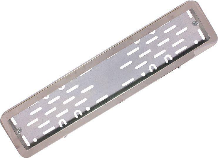 Рамка номерного знака DolleX, с адаптером, цвет: серый. SPL-22SPL-22Рамка номерного знака DolleX изготовлена из нержавеющей стали с прочным полимерным покрытием. Рамка имеет универсальное крепление под различные способы крепления к автомобилю.Адаптер из оцинкованной стали с виброизоляторами в комплекте.Температура эксплуатации: -50°C, +50°C.Размеры (Д х Ш х В): 54 x 14 x 2 см.