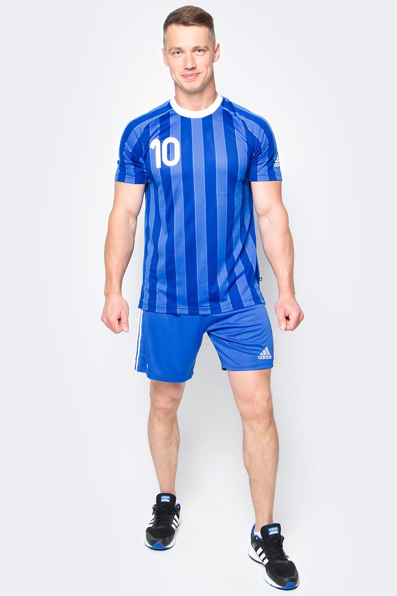 Футболка мужская Adidas Tanip Cc Jsy, цвет: синий. AZ9712. Размер L (52/54)AZ9712Футбольная коллекция всемирно известного бренда.Плеймейкеры талантливы и решительны. Веди команду за собой в этой мужской футболке с культовым номером 10 на груди и спине. Вентиляция climacool отводит излишки тепла от тела, обеспечивая тебе комфорт на поле и за его пределами. Удлиненная спинка и разрезы по бокам для свободы движений.