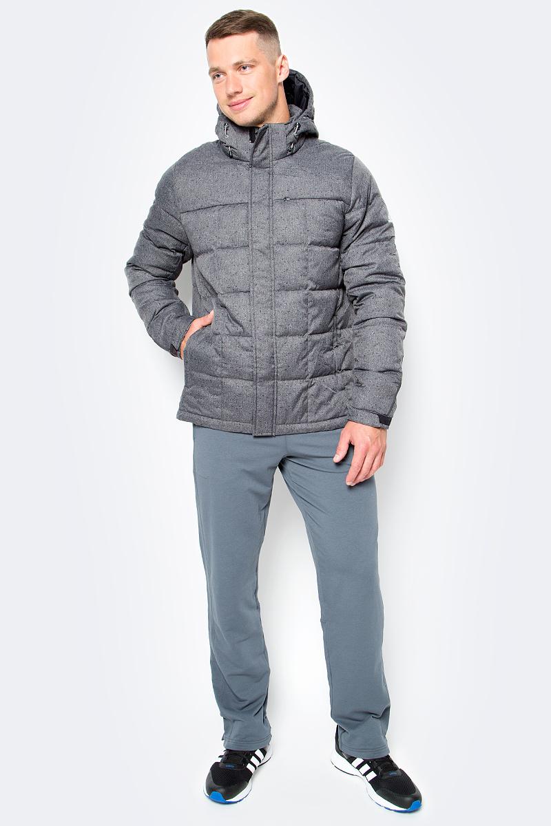 Пуховик мужской adidas DD70 WOOL JKT, цвет: серый. AY3854. Размер S (44/46)AY3854Спортивный стиль и классика соединились в этом мужском пуховике. Ткань с узором-елочкой и твидовым принтом. Застежка на молнию, отстегивающийся капюшон на регулируемых завязках и передние карманы на молнии. Передние карманы на молнии. Регулируемые манжеты на липучках, регулируемый нижний край со шнурком. Приталенный крой.