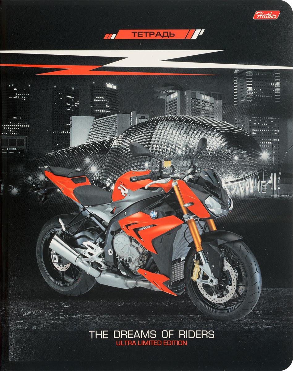 Hatber Тетрадь Спортивные мотоциклы 48 листов в клетку черный оранжевый48Т5вмВ1_15602Тетрадь Hatber Спортивные мотоциклы подойдет школьнику, студенту для различных записей.Обложка тетради с закругленными углами выполнена из плотного картона, что позволит сохранить тетрадь в аккуратном состоянии на протяжении всего времени использования.Внутренний блок тетради, соединенный двумя металлическими скрепками, состоит из 48 листов белой бумаги. Стандартная линовка в клетку голубого цвета дополнена полями.