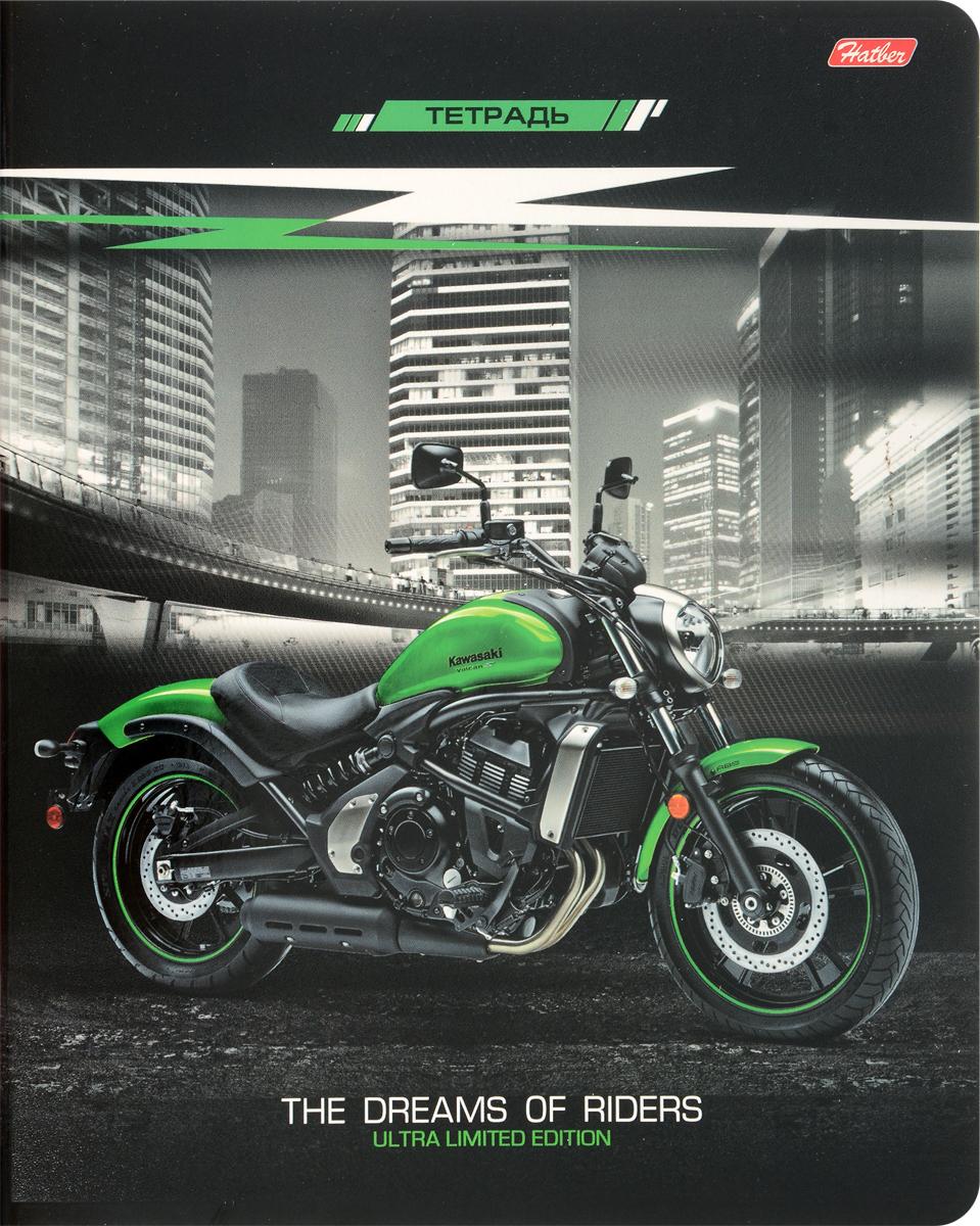 Hatber Тетрадь Спортивные мотоциклы 48 листов в клетку цвет черный зеленый48Т5вмВ1_15598Тетрадь Hatber Спортивные мотоциклы подойдет школьнику, студенту для различных записей.Обложка тетради с закругленными углами выполнена из плотного картона, что позволит сохранить тетрадь в аккуратном состоянии на протяжении всего времени использования.Внутренний блок тетради, соединенный двумя металлическими скрепками, состоит из 48 листов белой бумаги. Стандартная линовка в клетку голубого цвета дополнена полями.