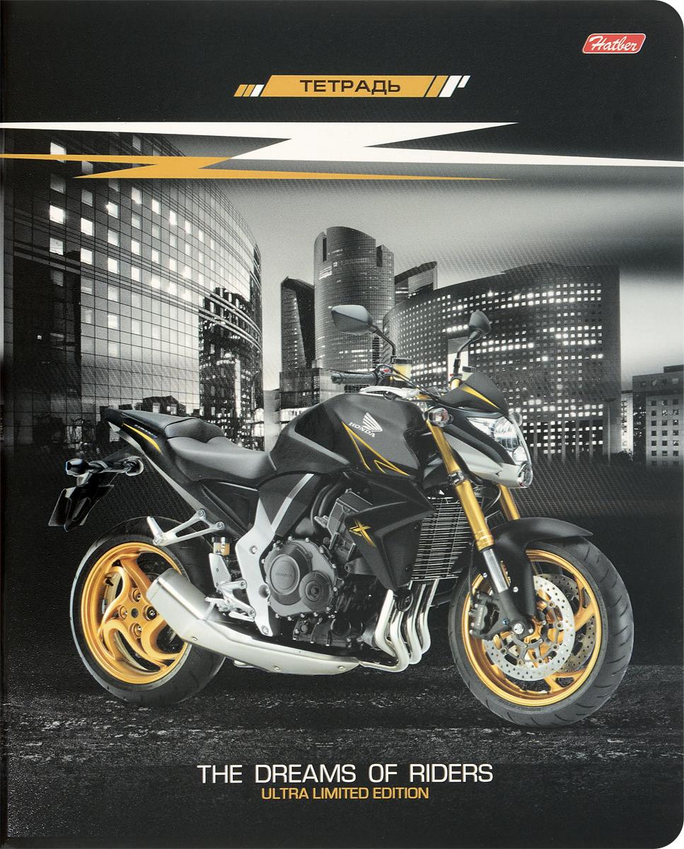 Hatber Тетрадь Спортивные мотоциклы 48 листов в клетку цвет золотистый48Т5вмВ1_15599Тетрадь Hatber Спортивные мотоциклы подойдет школьнику, студенту для различных записей.Обложка тетради с закругленными углами выполнена из плотного картона, что позволит сохранить тетрадь в аккуратном состоянии на протяжении всего времени использования.Внутренний блок тетради, соединенный двумя металлическими скрепками, состоит из 48 листов белой бумаги. Стандартная линовка в клетку голубого цвета дополнена полями.