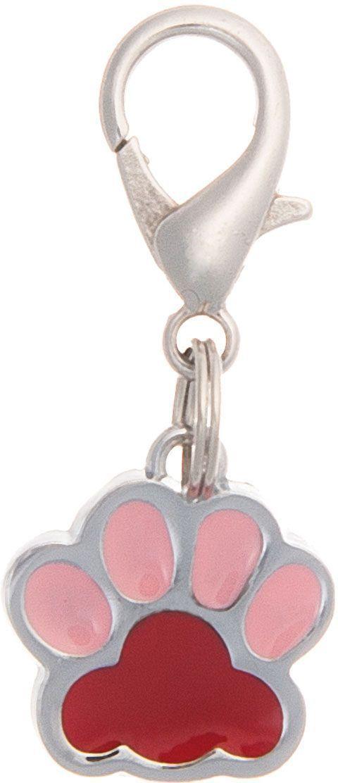 Адресник V.I.Pet Лапка, под гравировку, малый, цвет: красный, розовый, 18 х 16 мм адресник v i pet миска с косточкой под гравировку круглый малый цвет розовый диаметр 14 мм