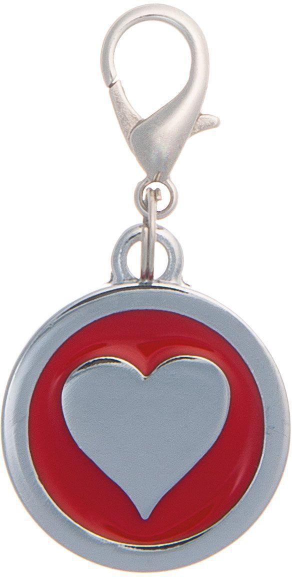 Адресник V.I.Pet Сердечко, под гравировку, круглый, большой, диаметр 25 мм адресник жетон косточка малая красная