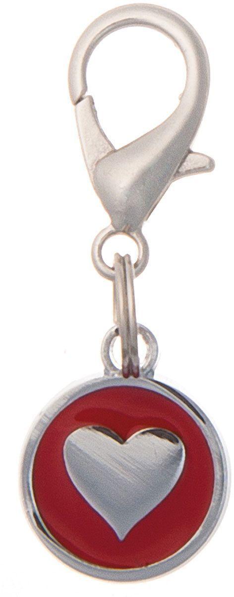 Адресник V.I.Pet Сердечко, под гравировку, круглый, малый цвет: красный, диаметр 14 мм адресник v i pet миска с косточкой под гравировку круглый малый цвет розовый диаметр 14 мм