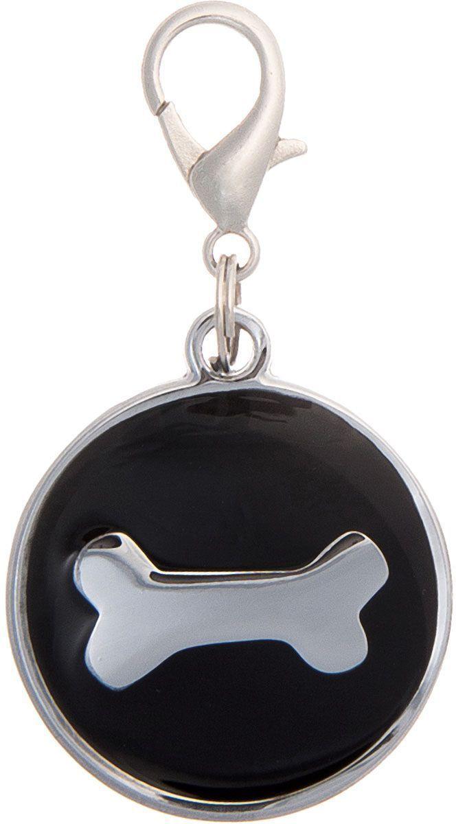Адресник V.I.Pet Кость, под гравировку, круглый, большой, цвет: черный, диаметр 29 мм адресник v i pet кость круглый малый цвет бежевый 14 мм гравировка