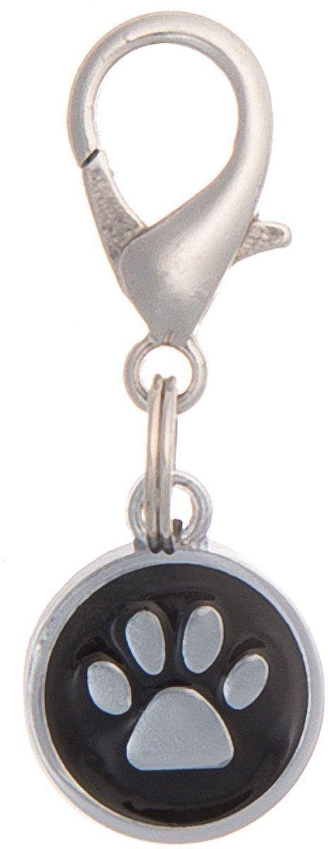 Адресник V.I.Pet Лапка, под гравировку, круглый, малый, цвет: черный, диаметр 14 мм адресник v i pet миска с косточкой под гравировку круглый малый цвет розовый диаметр 14 мм