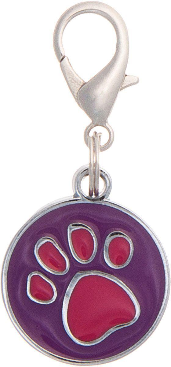 Адресник V.I.Pet Лапка, под гравировку, круглый, средний, цвет: фиолетово-красный, диаметр 21 мм адресник v i pet рыбья кость круглый средний 20 мм гравировка