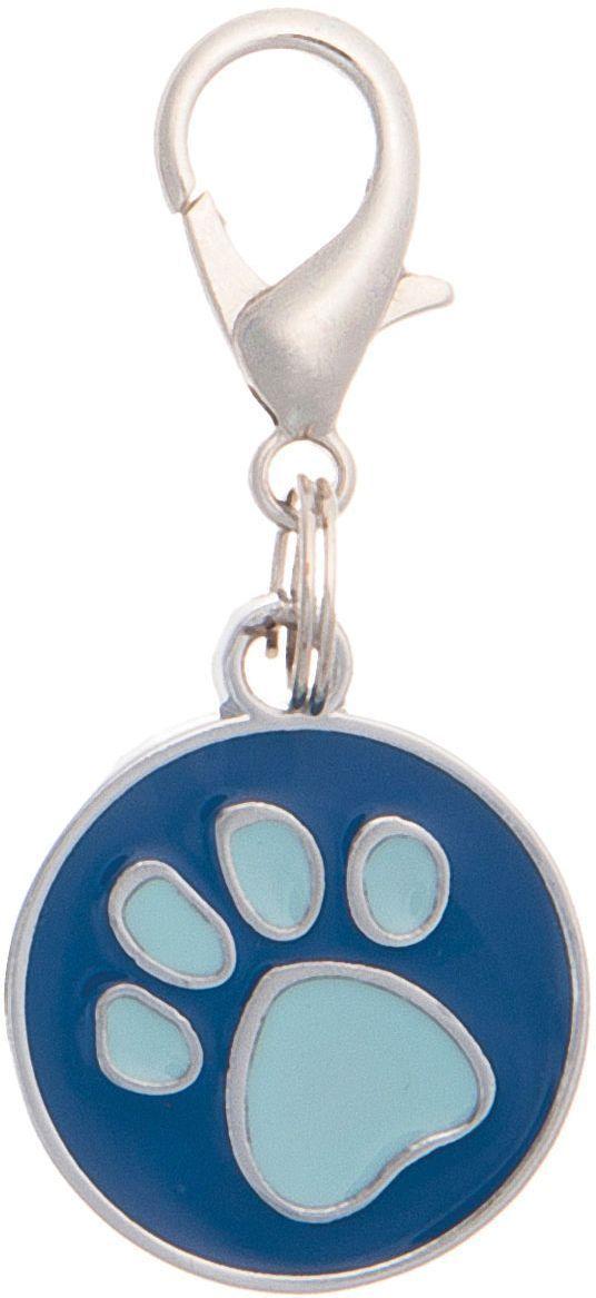 Адресник V.I.Pet Лапка, под гравировку, круглый, средний, цвет: сине-бирюзовый, диаметр 21 мм адресник v i pet рыбья кость круглый средний 20 мм гравировка