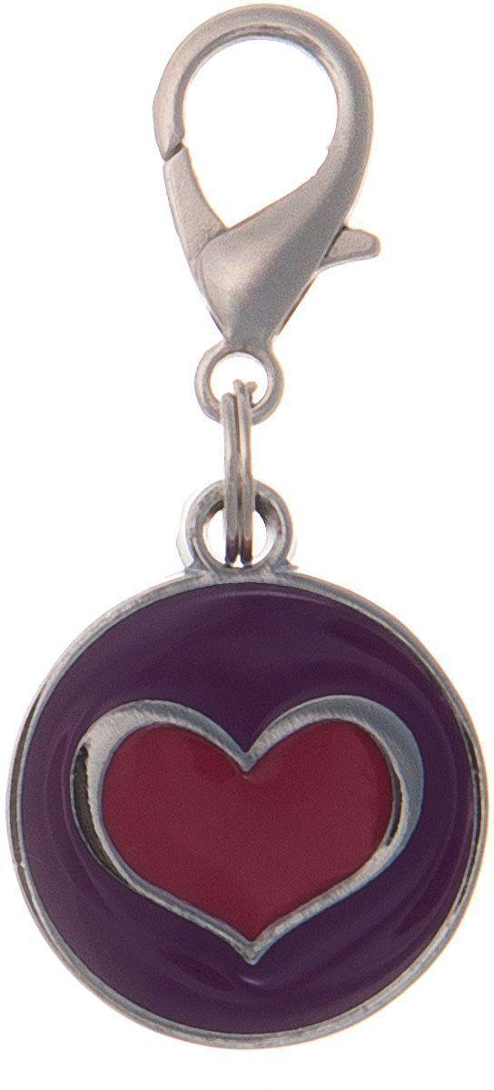 Адресник V.I.Pet Сердечко, под гравировку, круглый, средний, цвет: фиолетово-красный, диаметр 21 мм адресник жетон косточка малая красная