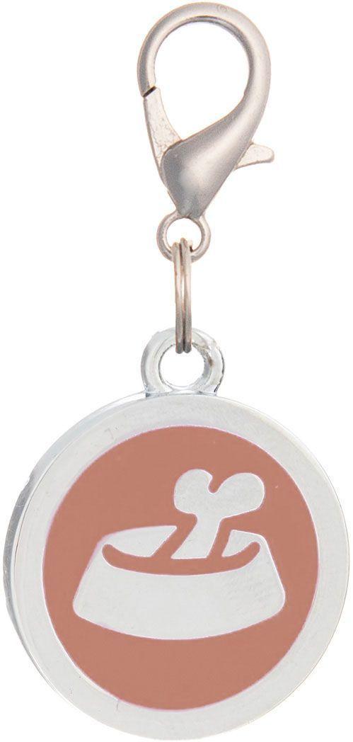 Адресник V.I.Pet Миска с косточкой, под гравировку, круглый, большой, цвет: оранжевый, диаметр 25 мм адресник v i pet рыбья кость круглый средний 20 мм гравировка