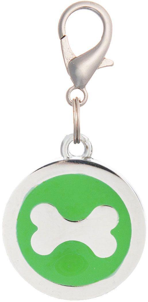 Адресник V.I.Pet Кость, под гравировку, круглый, большой, цвет: зеленый, диаметр 25 мм адресник v i pet рыбья кость круглый средний 20 мм гравировка