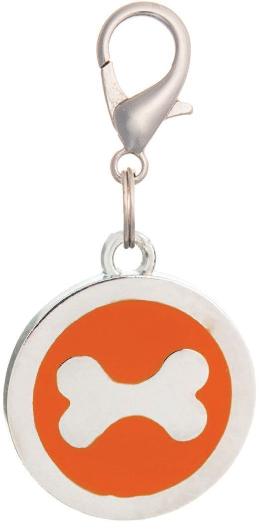 Адресник V.I.Pet Кость, под гравировку, круглый, большой, цвет: оранжевый, диаметр 25 мм адресник v i pet рыбья кость круглый средний 20 мм гравировка