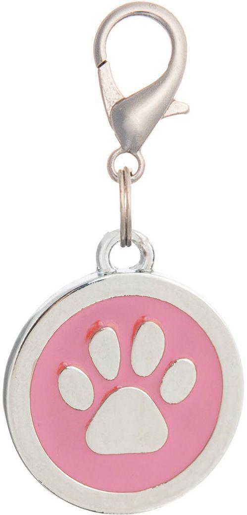 Адресник V.I.Pet Лапка, под гравировку, круглый, большой, цвет: розовый, диаметр 25 мм адресник v i pet рыбья кость круглый средний 20 мм гравировка