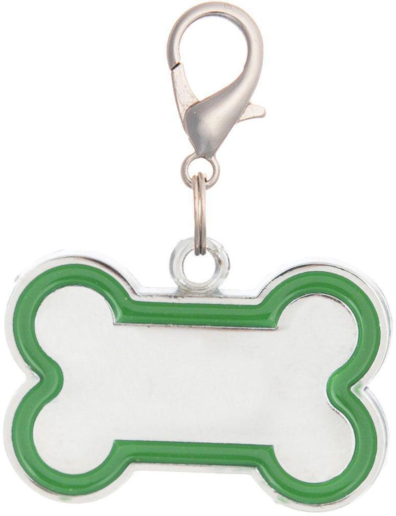 Адресник V.I.Pet Кость, под гравировку, цвет: зеленый, 30 х 16 мм адресник v i pet кость круглый малый цвет бежевый 14 мм гравировка