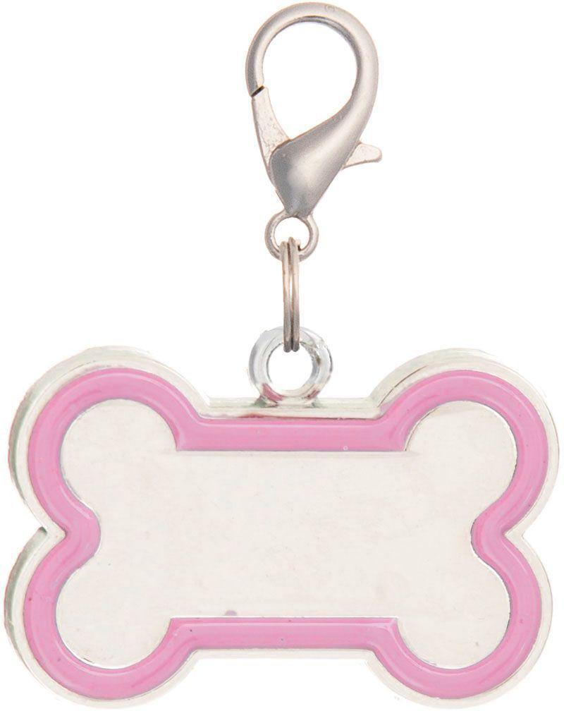 Адресник V.I.Pet Кость, под гравировку, цвет: розовый, 30 х 16 мм адресник v i pet миска с косточкой под гравировку круглый малый цвет розовый диаметр 14 мм