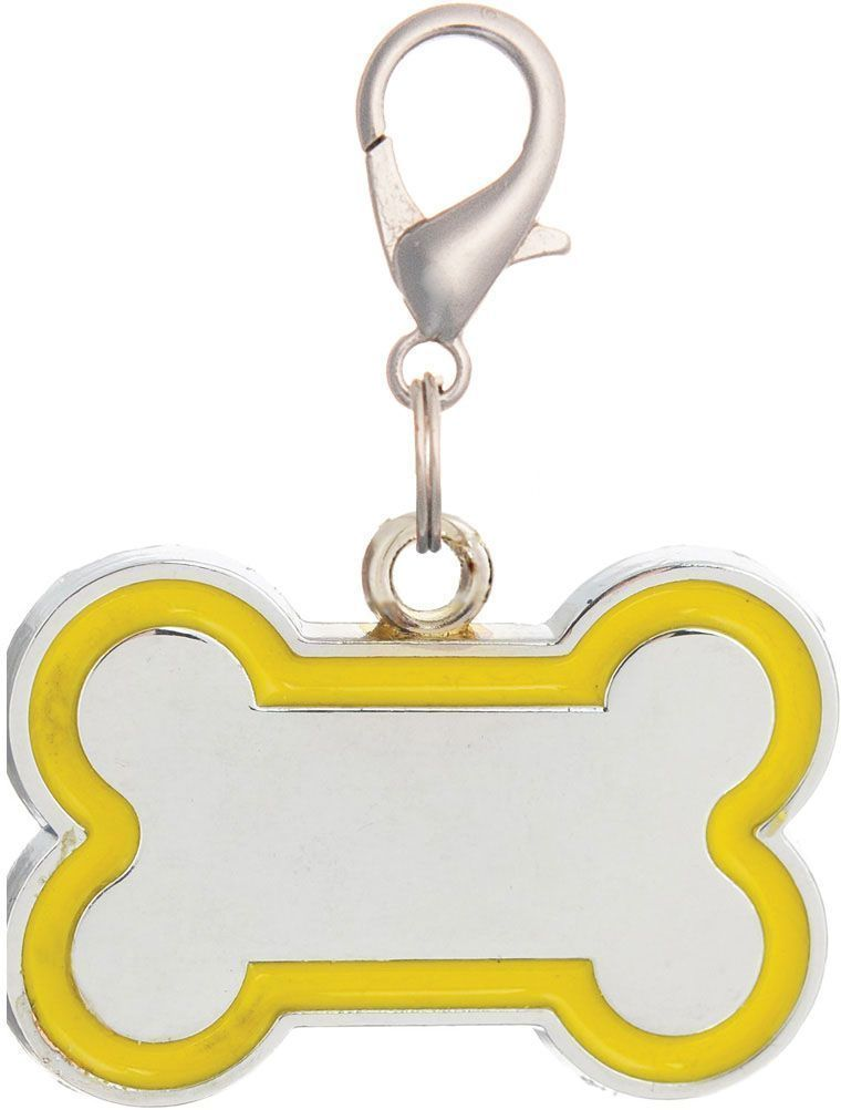 Адресник V.I.Pet Кость, под гравировку, цвет: желтый, 30 х 16 мм19077Адресник V.I.Pet выполнен в виде из цинка и эмали. Адресник - это важное дополнение к любому ошейнику, шлейке или поводку. Разнообразие дизайнов адресников V.I.Pet поможет вам подчеркнуть индивидуальность вашего питомца и оставить на ошейнике полезную информацию.Оригинальный жетон-адресник для собаки или кошки выдержит все приключения вашего питомца.На обратную сторону жетона наносится (гравируется) имя питомца, телефон владельца.