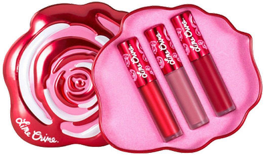 Lime Crime Набор матовых помад для губ Mini Velvetines Red Rose, 2,7 млL027-01-0000Velve-Tins - подарочные наборы с мини-версиями помад VELVETINES. В каждом трио из матовых и металлических оттенков, включая лимитированные версии. 5 наборов собраны в оригинальных коробочках, символизирующих разноцветные бутоны роз.