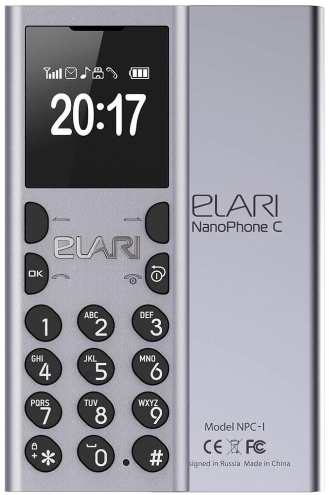 Elari NanoPhone C, Silver мобильный телефон ультратонкий elari cardphone