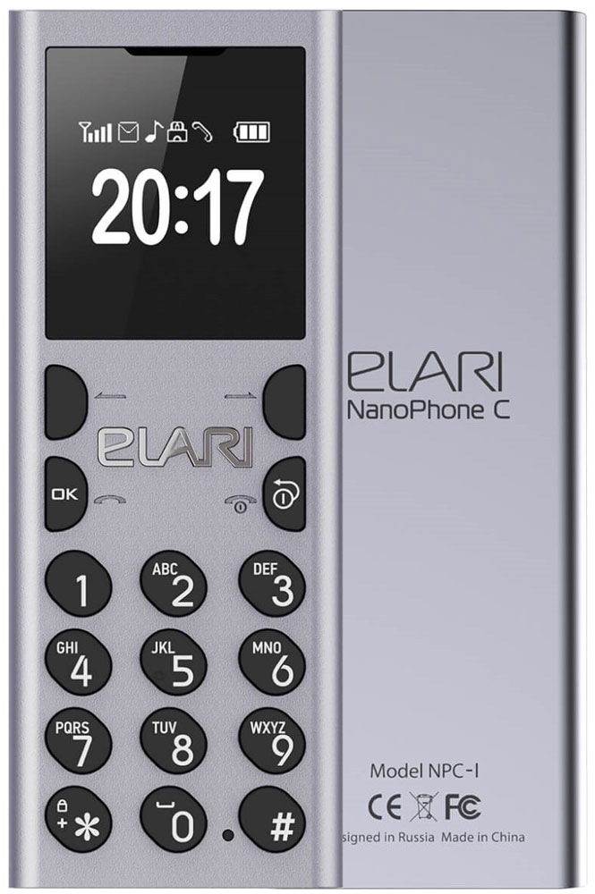Elari NanoPhone C, Silver аксессуар чехол elari для elari cardphone и iphone 6 plus blue