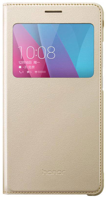 Huawei Smart Cover чехол для Honor 5X, Gold51991326Чехол Huawei Smart Cover создан специально для смартфона Honor 5X. Он идеально повторяет контуры устройства и обеспечивает ему надежную защиту при падениях. Приятен на ощупь, не скользит в руках и не утяжеляет конструкцию: с ним смартфон сохранит внешний вид и будет защищен от сколов и царапин.