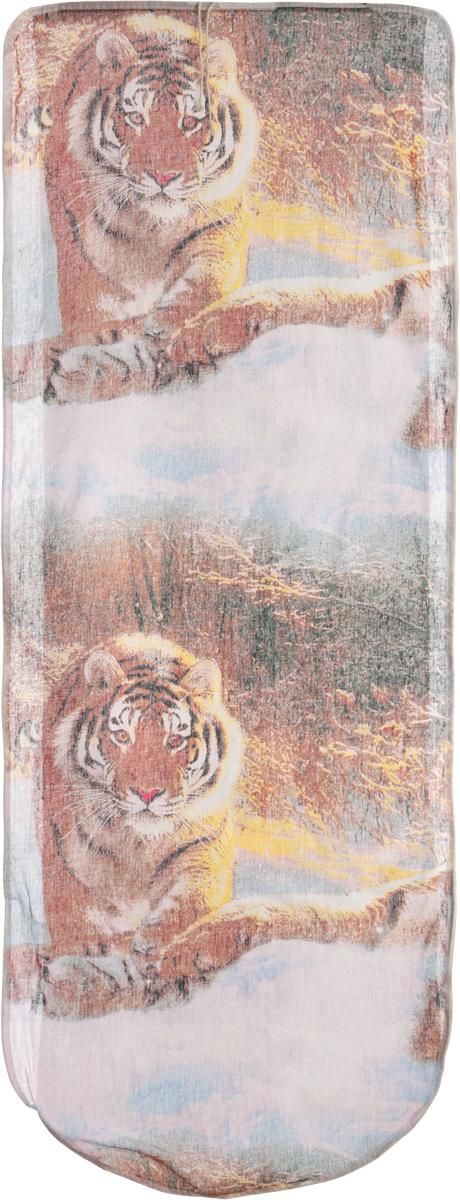 Чехол для гладильной доски Eva Тигр, цвет: бежевый, коричневый, 125 х 47 см чехол для головных уборов eva цвет коричневый 33 х 33 х 20 см