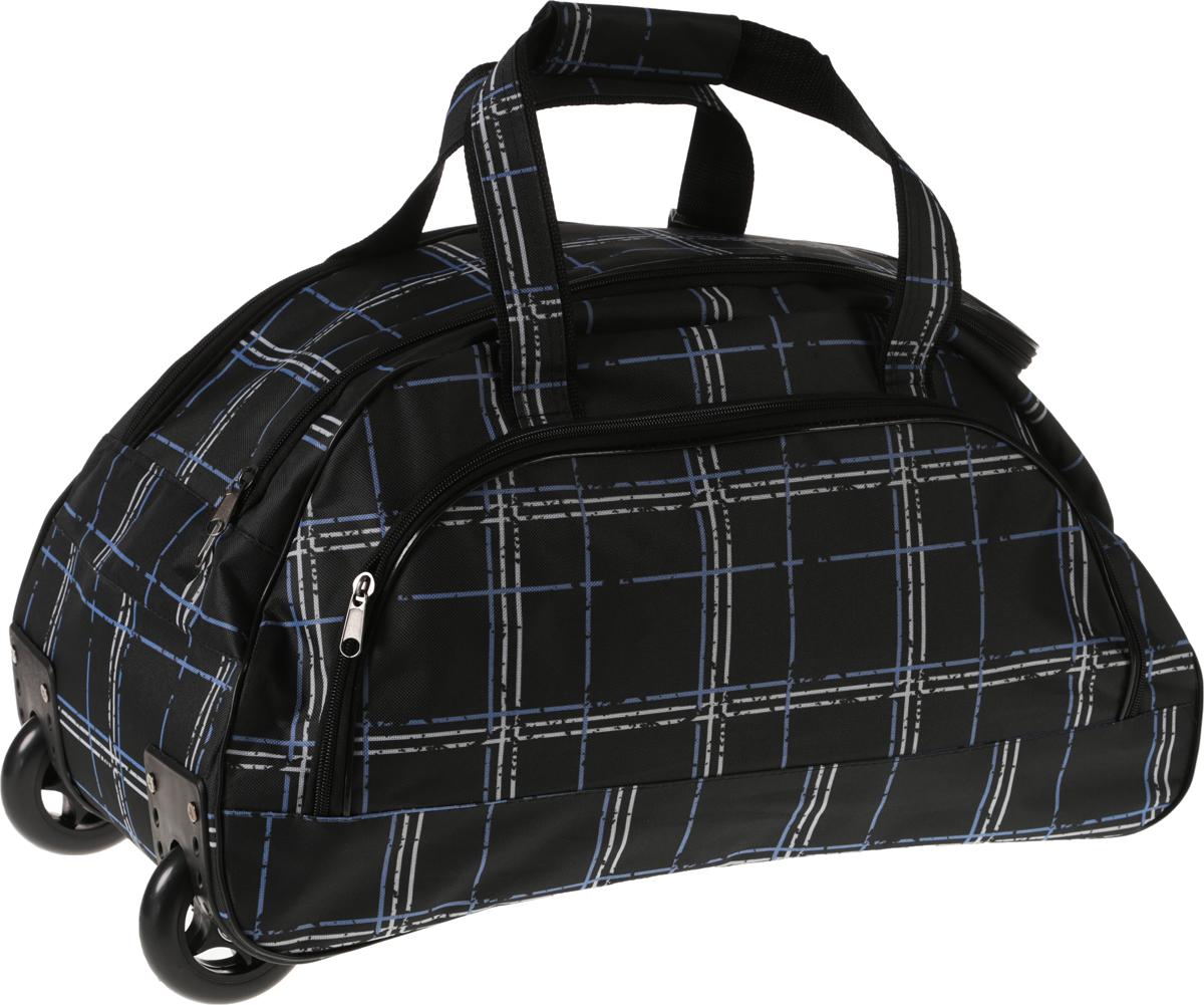 Сумка дорожная AMeN, с выдвижной ручкой, на колесах, цвет: черный. 13310081331008_черный/клеткаСтильная дорожная сумка AMeN прекрасно подойдет для путешествий так и для деловых поездок. Сумка выполнена из текстиля. Изделие имеет одно основное отделение, закрывающееся на застежку-молнию. Снаружи, на задней стенке расположен накладной карман на застежке-молнии. Модель оснащена двумя удобными ручками для переноски в руках. Для более удобной транспортировки основание изделия оснащено удобной выдвижной ручкой и двумя колесиками. Основание - жесткое, дополнено пластиковыми ножками.Такая дорожная сумка сможет вместить в себя все самое необходимое для путешествия.Торговая марка AMeN производит сумки на собственной фабрике. При пошиве изделий используются современные материалы, обеспечивающие износостойкость и яркость материала. Дизайн аксессуаров разрабатывается в соответствии с последними модными тенденциями.Длина выдвижной ручки: 36 см.