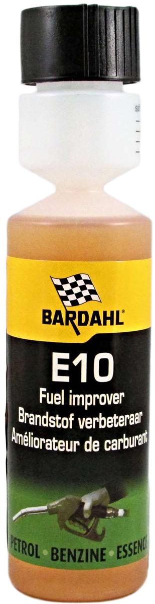 Добавка многофункциональная Bardahl Е10 - Fuel Improver, стабилизирующая, в бензин, 250 мл3222Предназначена в качестве профилактической меры для тех, кто в будущем хочет исключить проблемы с компонентами топливной системы. Спецификации:- Снижает расход топлива.- Мягко очищает топливную систему.- Мерный стаканчик в комплекте.