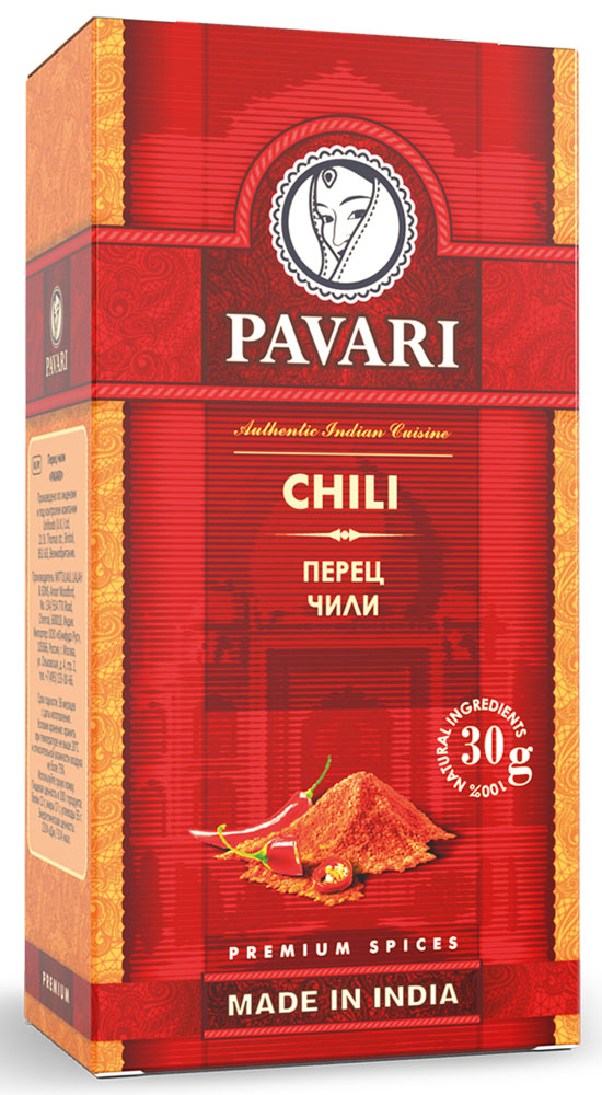Pavari Chili перец чили, 30 г32207Идеально подойдет для приготовления супов, блюд из мяса и птицы. Также придаст особую пикантность маринадам и соусам.