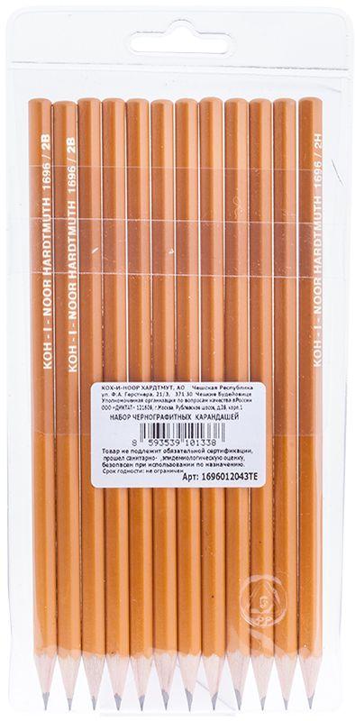Koh-I-Noor Набор чернографитных карандашей 12 шт1696012043TEПрофессиональные высококачественные чернографитные карандаши Koh-I-Noor из дерева подходят для чертежных и оформительских работ. Карандаши без ластика различной твердости, заточенные.