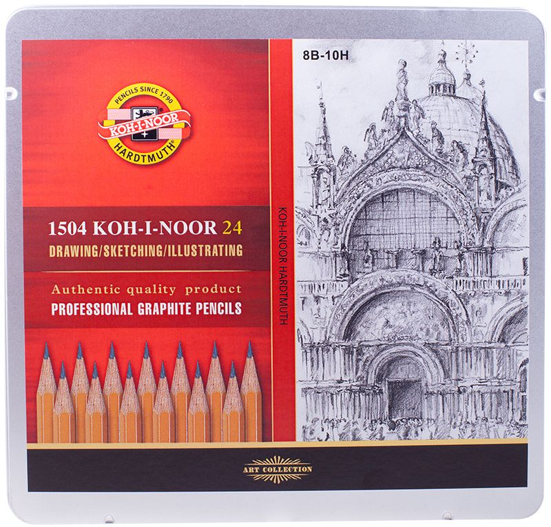 Koh-I-Noor Набор чернографитных карандашей 24 шт1504024001PLКарандаш Koh-I-Noor с обозначением 1500 — это самый известный графитный карандаш в мире. Профессиональные высококачественные чернографитные карандаши 1500 подходят для чертежных и оформительских работ. Твердость грифеля – 8В-10Н.