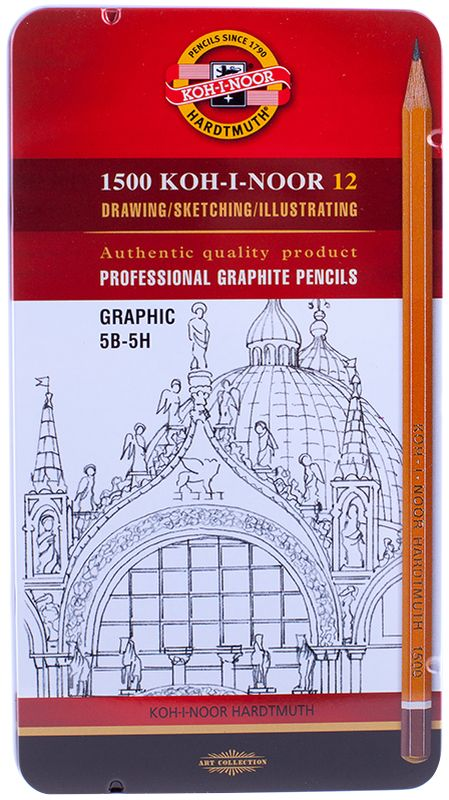 Koh-I-Noor Набор чернографитных карандашей 1500 Graphic 12 шт1502012009PLПрофессиональные высококачественные чернографитные карандаши из дерева от всемирно известного канцелярского гиганта Koh-i-Noor. Подходят для чертежных и оформительских работ. Карандаши предварительно заточены. Карандаш Koh-I-Noor 1500 - это традиционный продукт, который выпускается компанией уже более 120 лет без всяких изменений в дизайне, в традиционном желтом корпусе, который стал визитной карточкой Koh-I-Noor.