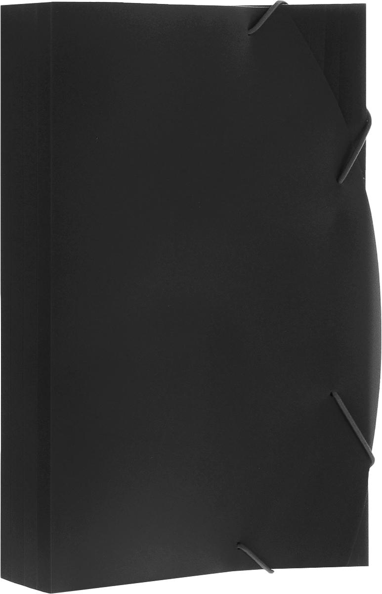 Albion Папка на резинках Basic цвет черный AL10910AL10910Папка Albion Basic изготовлена из полужесткого пластика высокого качества. Предназначена для транспортировки и хранения документов формата А4.Имеет три клапана. Толщина папки легко регулируется при помощи дополнительных насечек на всех клапанах. Вмещает в себя до 150 листов.Папка - это незаменимый атрибут для любого студента, школьника или офисного работника. Такая папка надежно сохранит ваши бумаги и сбережет их от повреждений, пыли и влаги.
